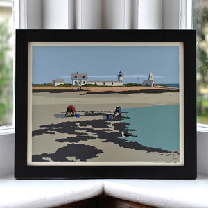 "Goat Island Clammers Art Print 8"" x 10"" Framed Wall Poster - Maine"