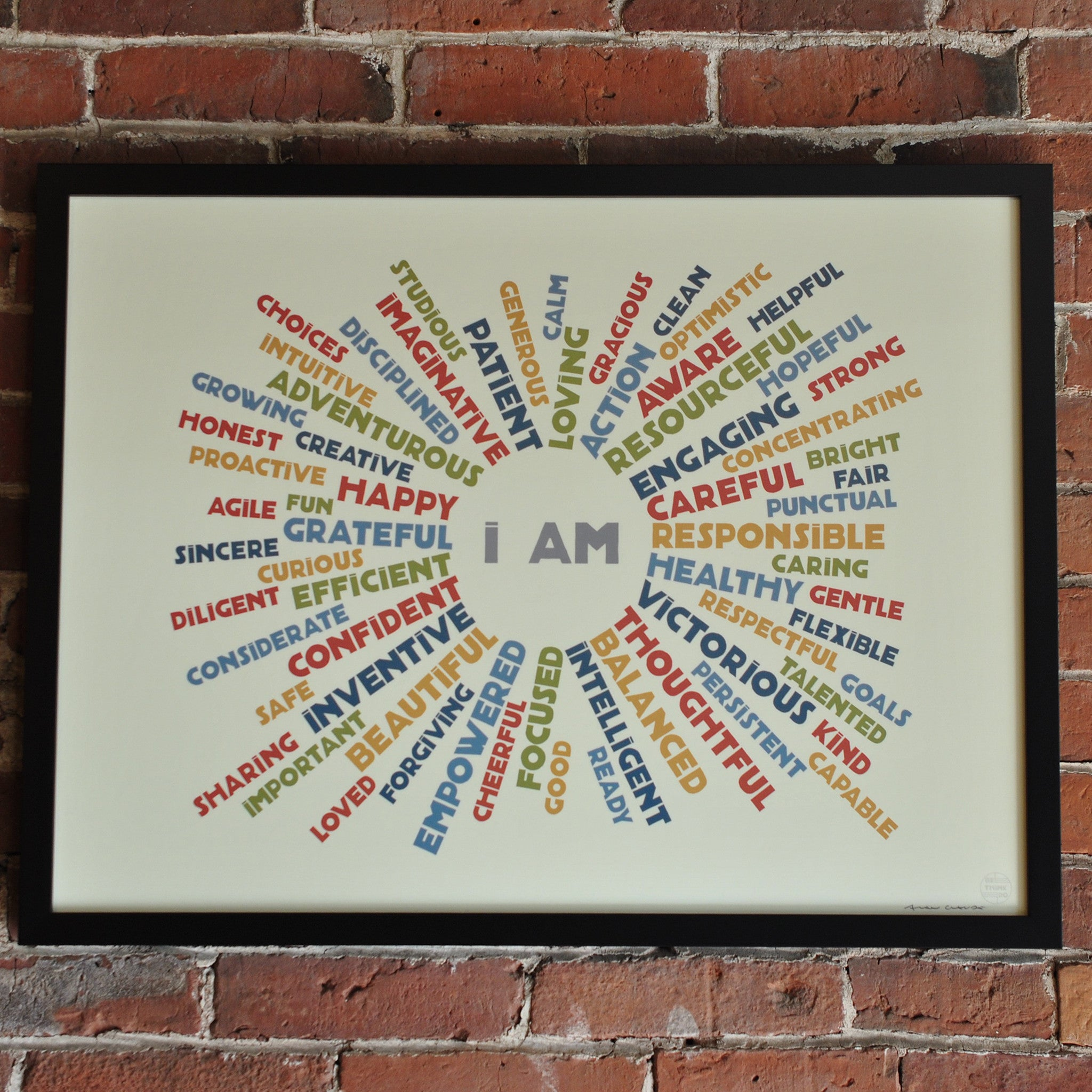 "I AM Youth Mindfulness Art Print - Retro 18"" x 24"" Framed"
