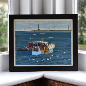 "Lobstering at Cape Ann Art Print 8"" x 10"" Framed Wall Poster - Massachusetts"