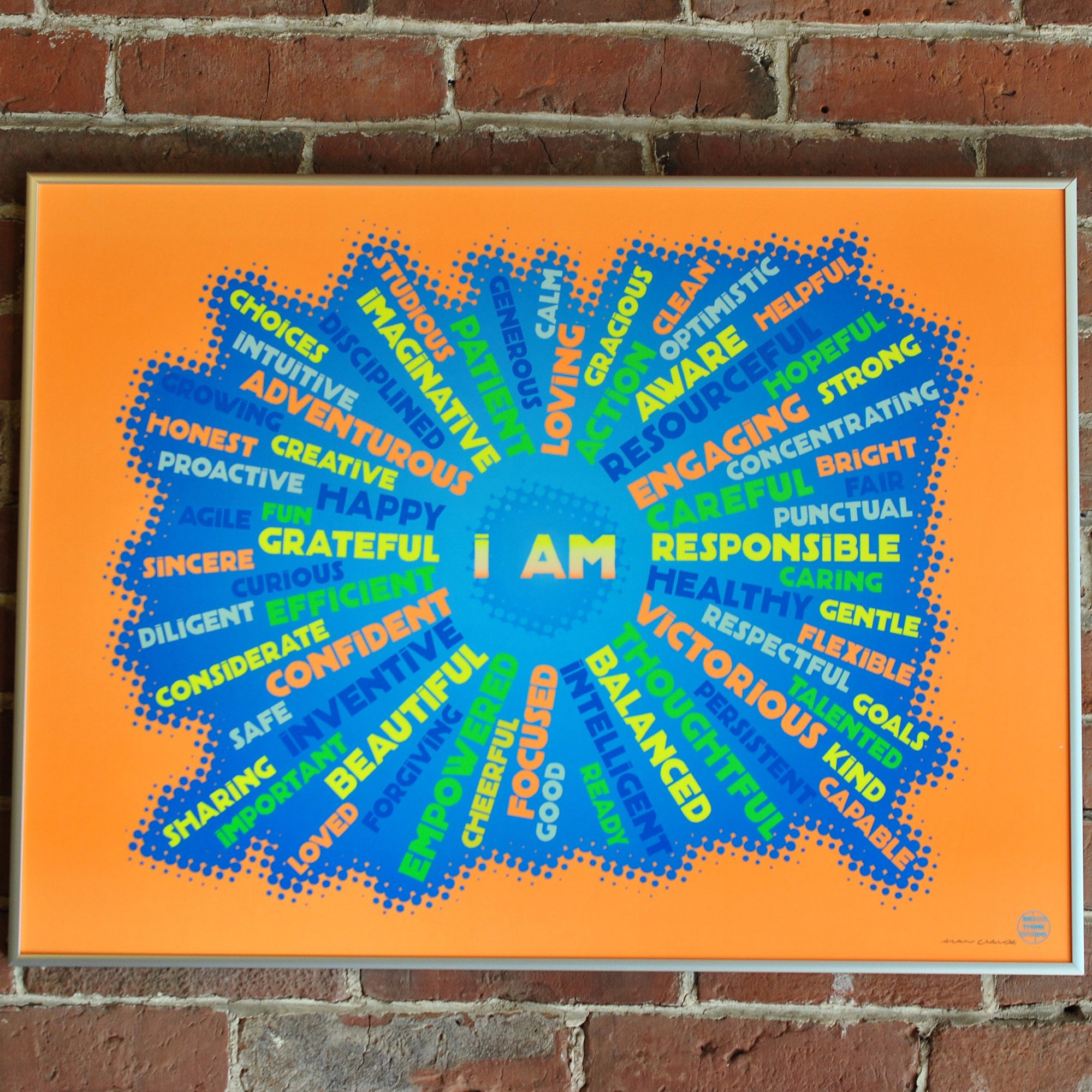 "I AM YOUTH MINDFULNESS Art Print - Neon Orange 18"" x 24"" Framed"