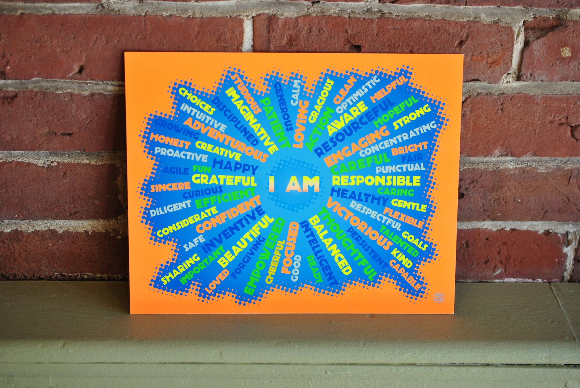 "I AM Youth Mindfulness Art Print - Neon Orange 8"" x 10"" Wall Poster"