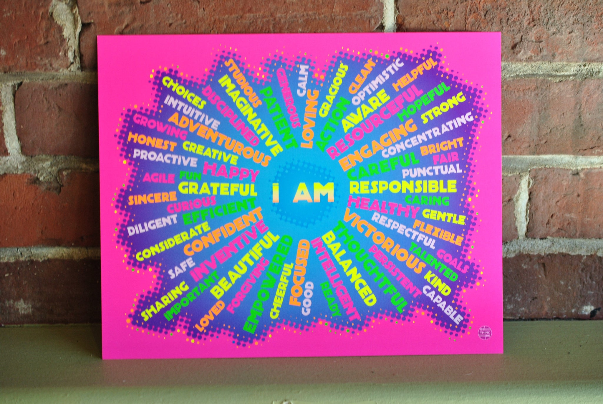 "I AM Youth Mindfulness Art Print - Neon Pink 8"" x 10"" Wall Poster"