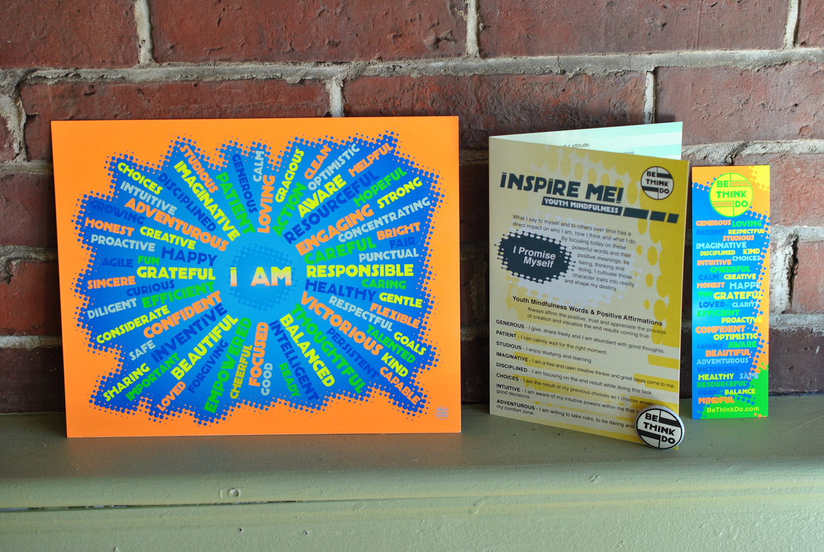 "I AM- Youth Mindfulness Orange Art Print 8"" x 10"" Wall Poster"