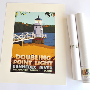 "Doubling Point Light Art Print 18"" x 24"" Travel Poster - Maine"