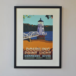 "Doubling Point Light Art Print 18"" x 24"" Framed Travel Poster - Maine"