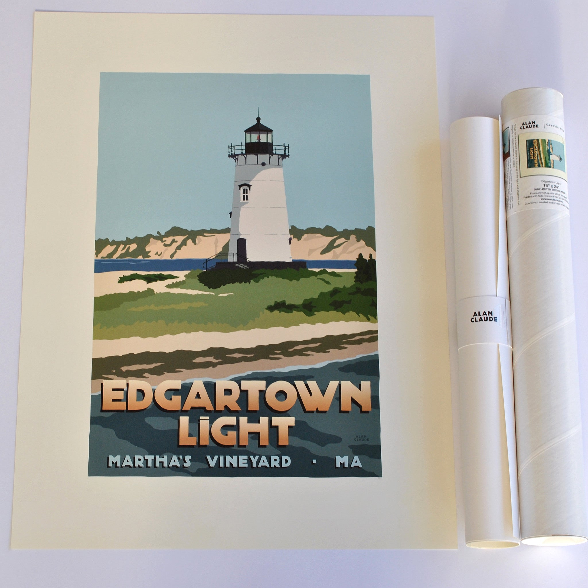 "Edgartown Light Art Print 18"" x 24"" Travel Poster - Massachusetts"
