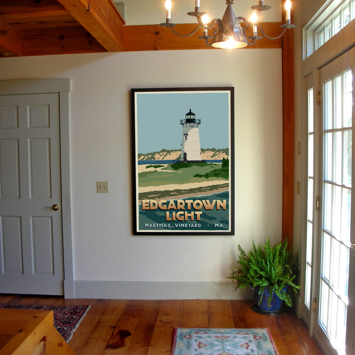 "Edgartown Light Art Print 36"" x 53"" Framed Travel Poster - Massachusetts"