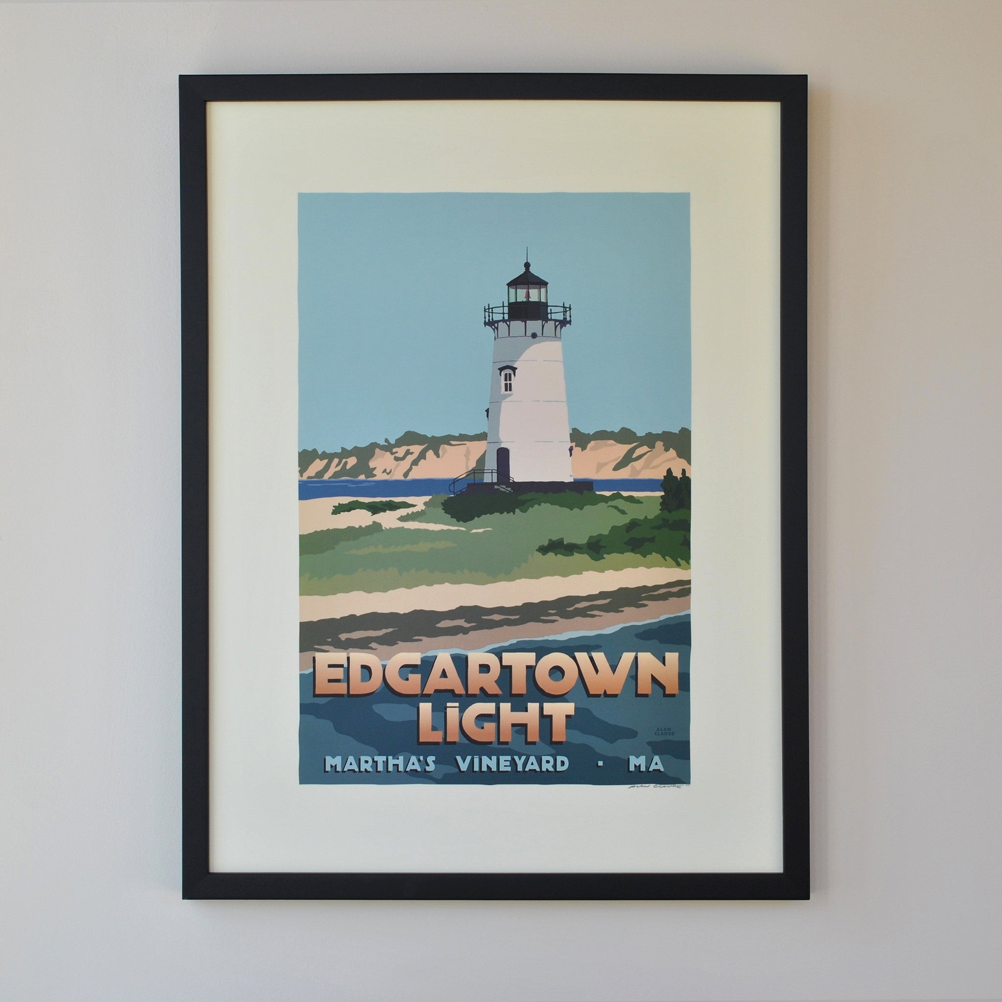 "Edgartown Light Art Print 18"" x 24"" Framed Travel Poster - Massachusetts"