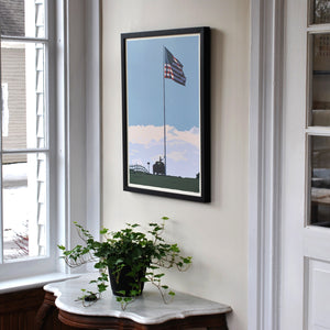 "Flag at Fort Williams Art Print 18"" x 24"" Framed Wall Poster - Maine"