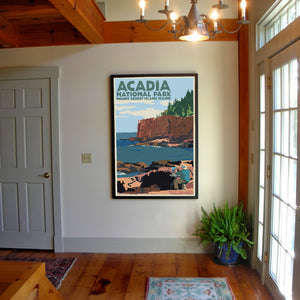 "Painting In Acadia National Park Art Print 36"" x 53"" Framed Wall Poster By Alan Claude"