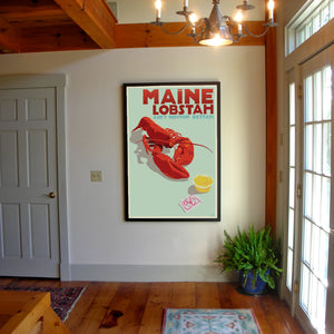 "Maine Lobstah Art Print 36"" x 53"" Framed Wall Poster By Alan Claude"