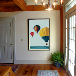 "Balloons Over Islands Art Print 36"" x 53"" Framed Wall Poster - Maine"