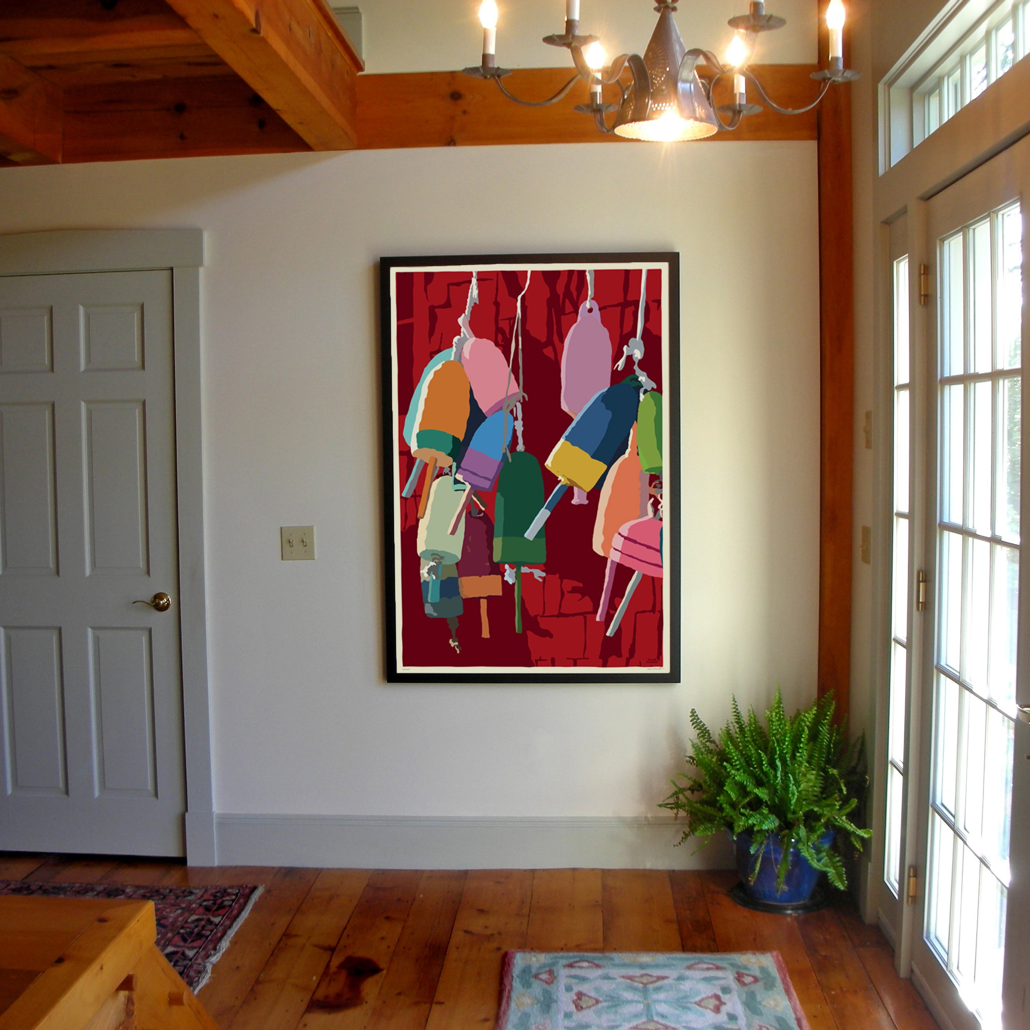 "Lobster Buoys Art Print 36"" x 53"" Framed Wall Poster - Maine"