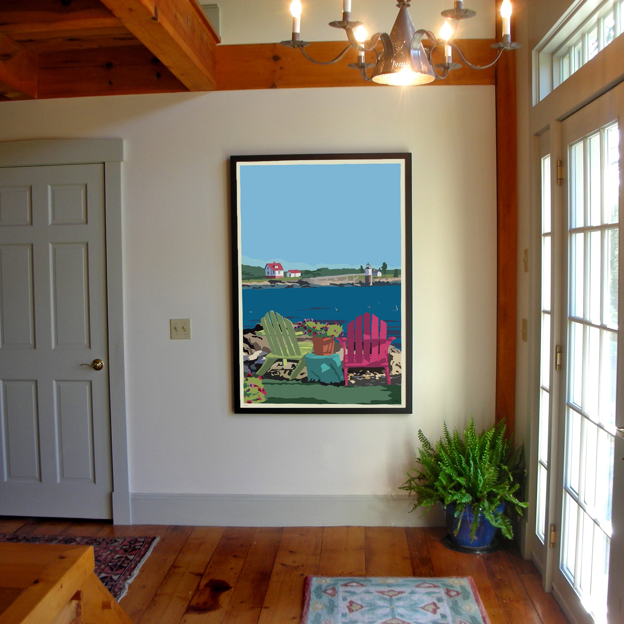 "Chairs Overlooking Ram Island Art Print 36"" x 53"" Framed Wall Poster - Maine"