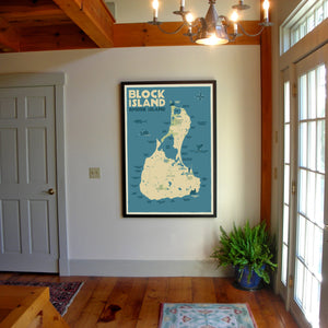 "Block Island Map Art Print 36"" x 53"" Framed Wall Poster- Rhode Island"