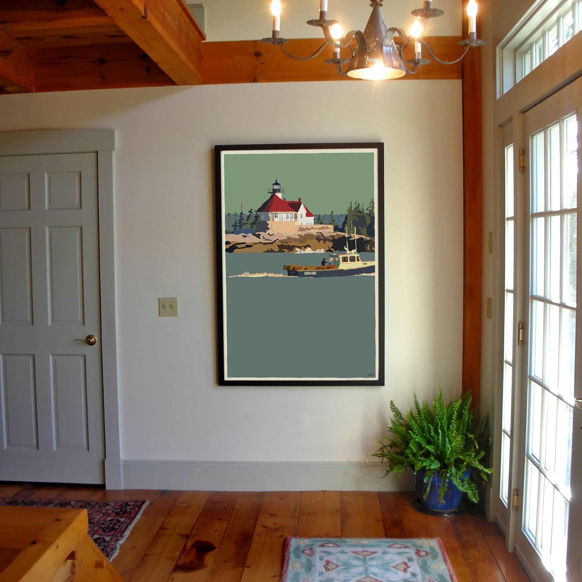 "Lobstering At The Cuckolds Light Art Print 36"" x 53"" Framed Wall Poster - Maine"