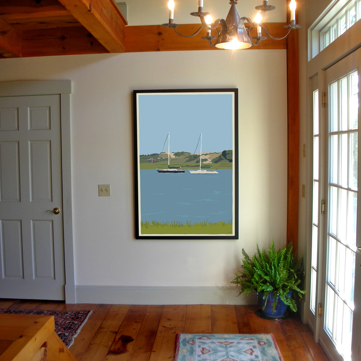 "Sailboats At Sandy Neck Art Print 36"" x 53"" Framed Wall Poster - Massachusetts"