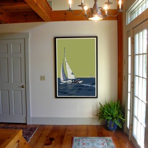 "Sailing Half Way Rock Light Art Print 36"" x 53"" Framed Wall Poster - Maine"