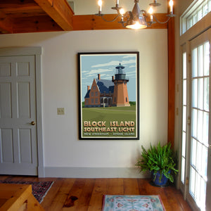 "Block Island Southeast Light Art Print 36"" x 53"" Framed Travel Poster - Rhode Island"