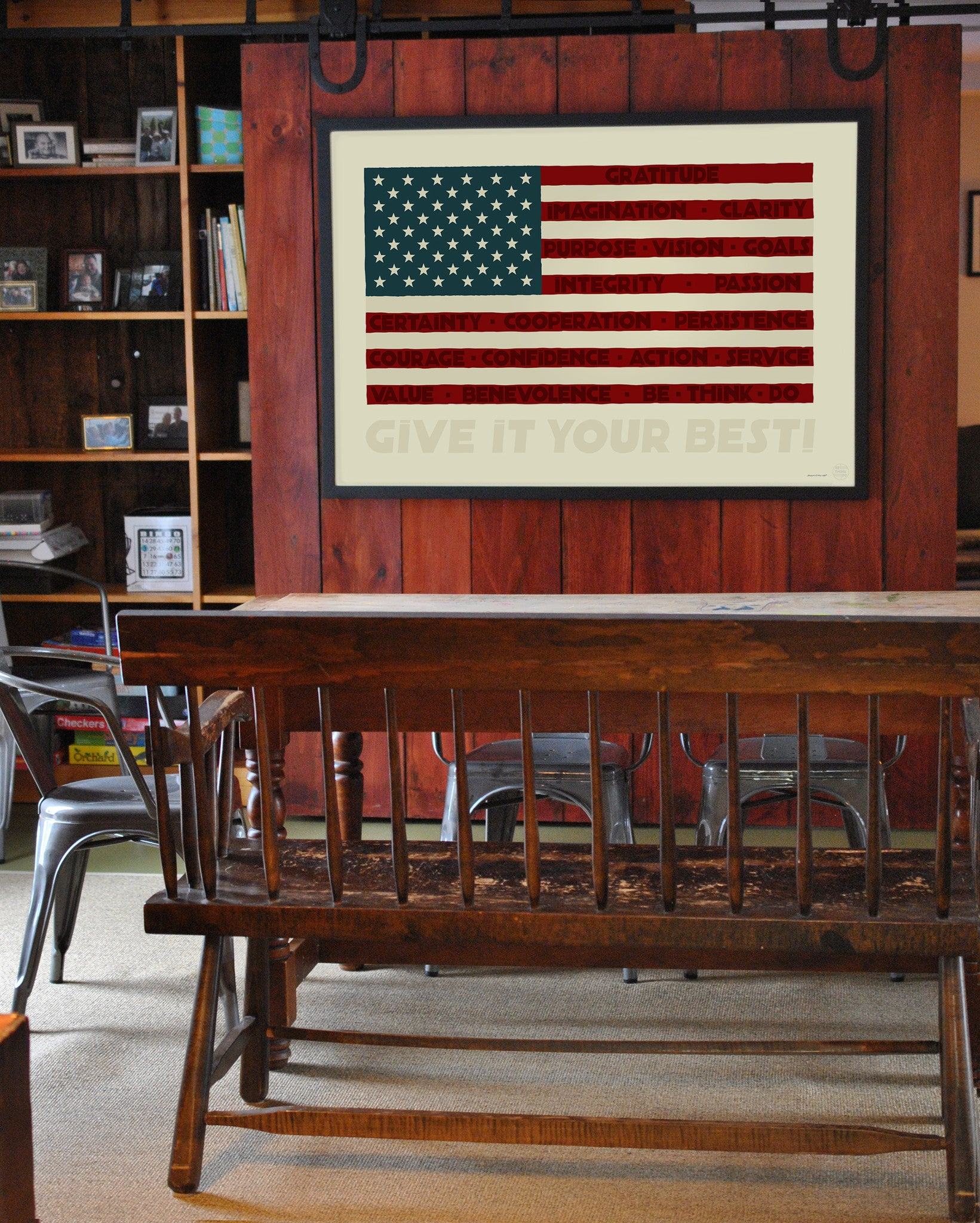 "GIVE IT YOUR BEST! USA Flag Art Print 36"" x 53"" Framed Wall Poster"