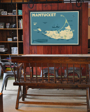 "Nantucket Map Art Print 36"" x 53"" Framed Travel Poster - Massachusetts"