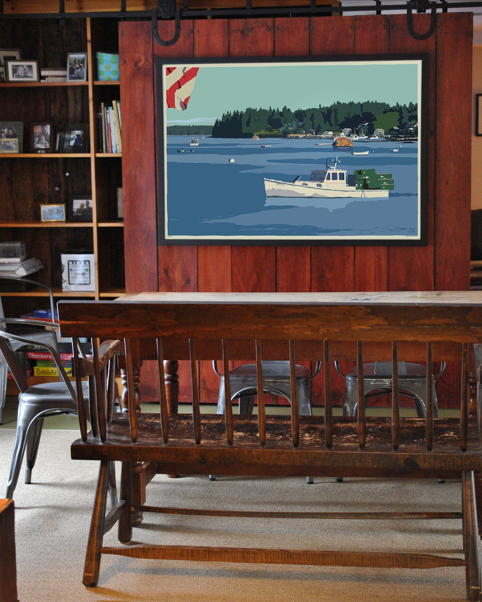 "Port Clyde Lobster Boat Art Print 36"" x 53"" Framed Wall Poster - Maine"