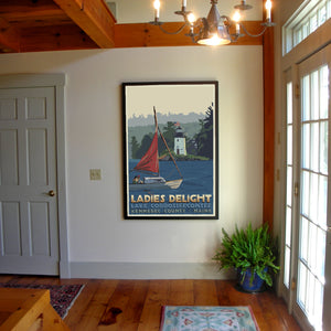 "Sailing Ladies Delight Art Print 36"" x 53"" Framed Travel Poster - Maine"