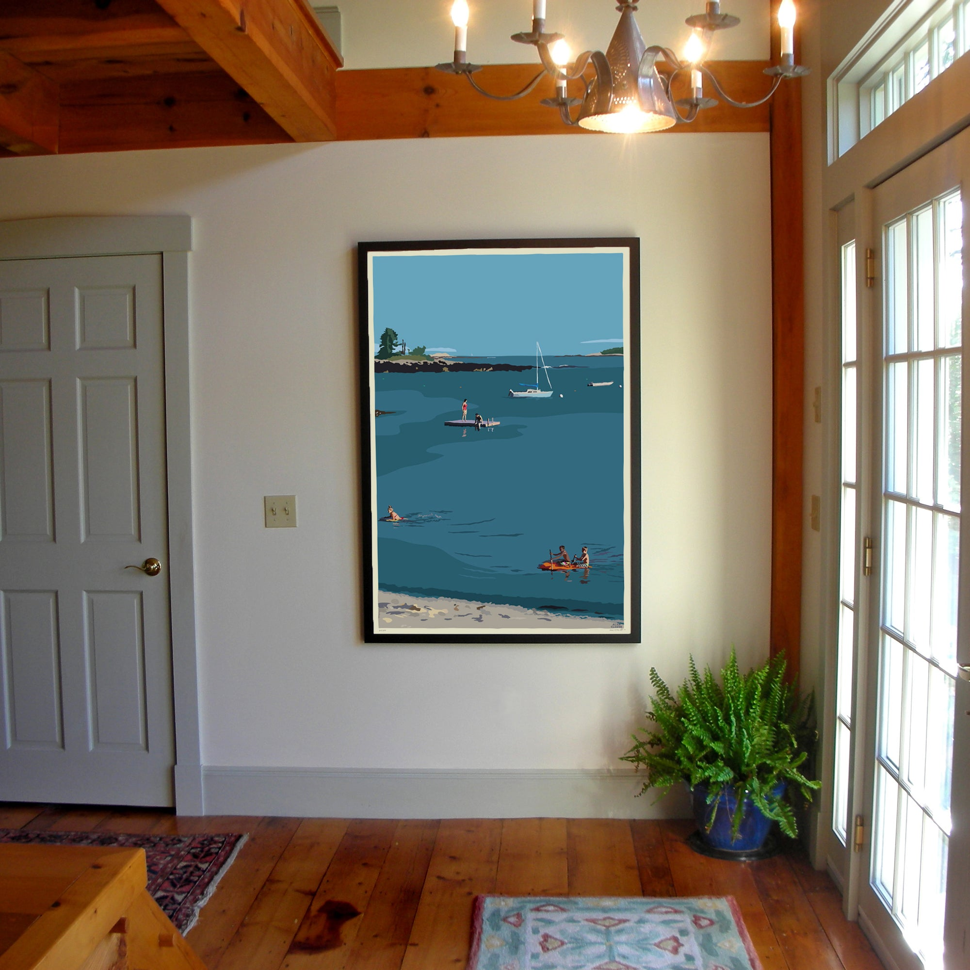 "Ocean Point Swimmers Art Print 36"" x 53"" Framed Wall Poster - Maine"