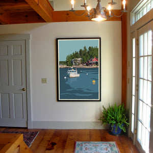 "Lobster Boat At Five Islands Art Print 36"" x 53"" Framed Travel Poster - Maine"
