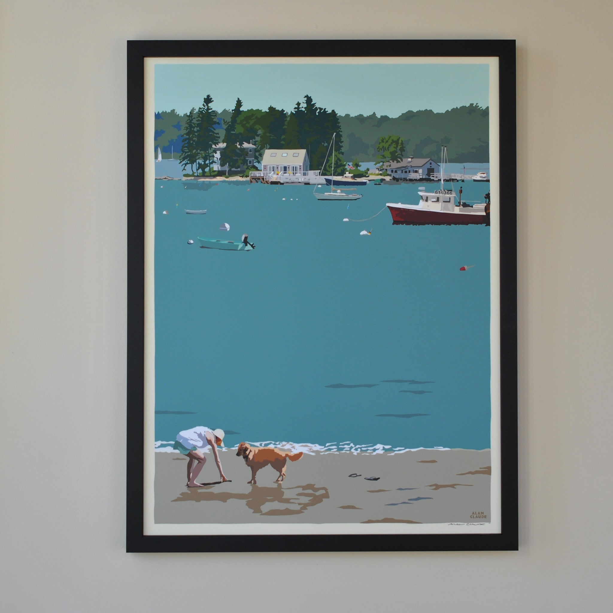 "Golden Retriever at Beach ""Go Fetch"" Art Print 18"" x 24"" Framed Wall Poster - Maine"