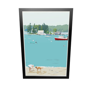 "Golden Retriever at Beach ""Go Fetch"" Art Print 24"" x 36"" Framed Wall Poster - Maine"