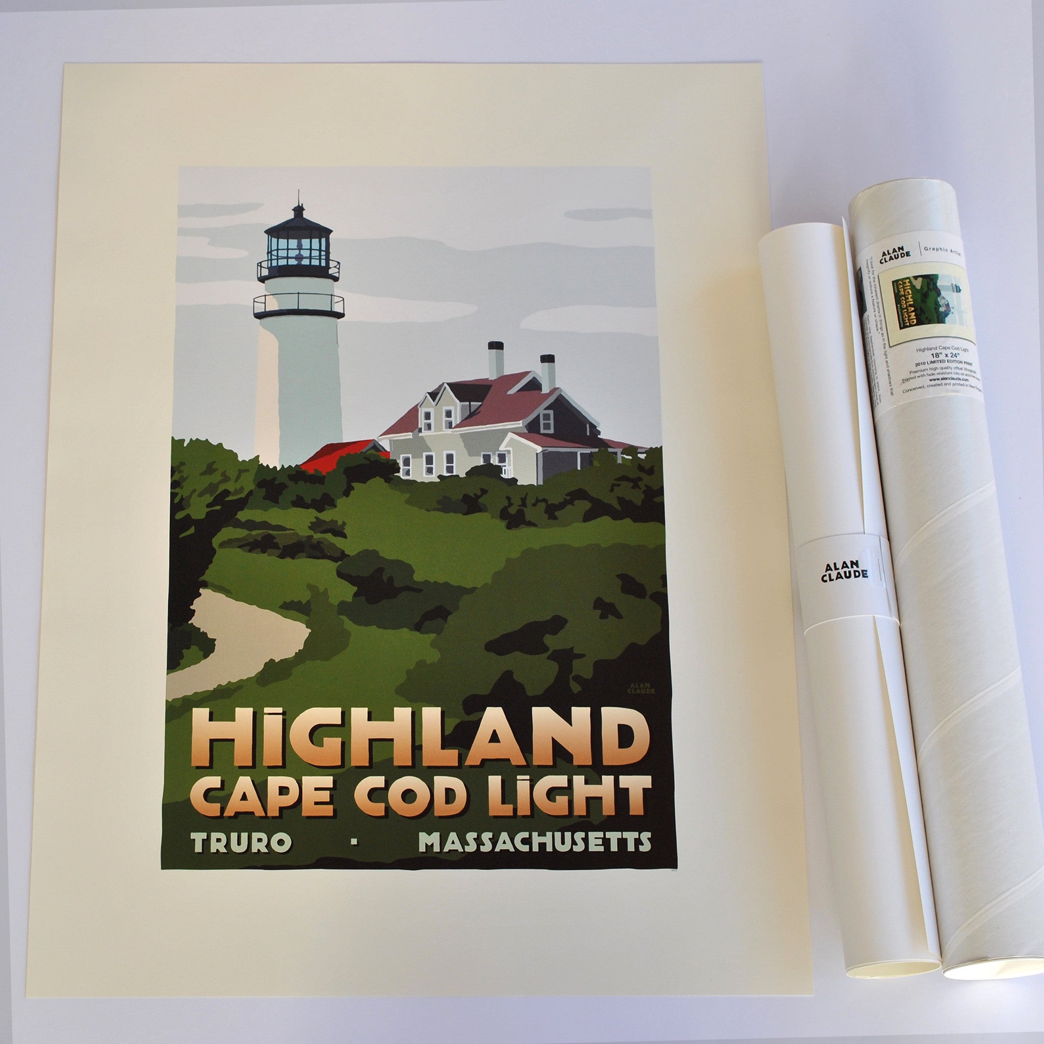 "Highland Light Art Print 18"" x 24"" Travel Poster - Massachusetts"