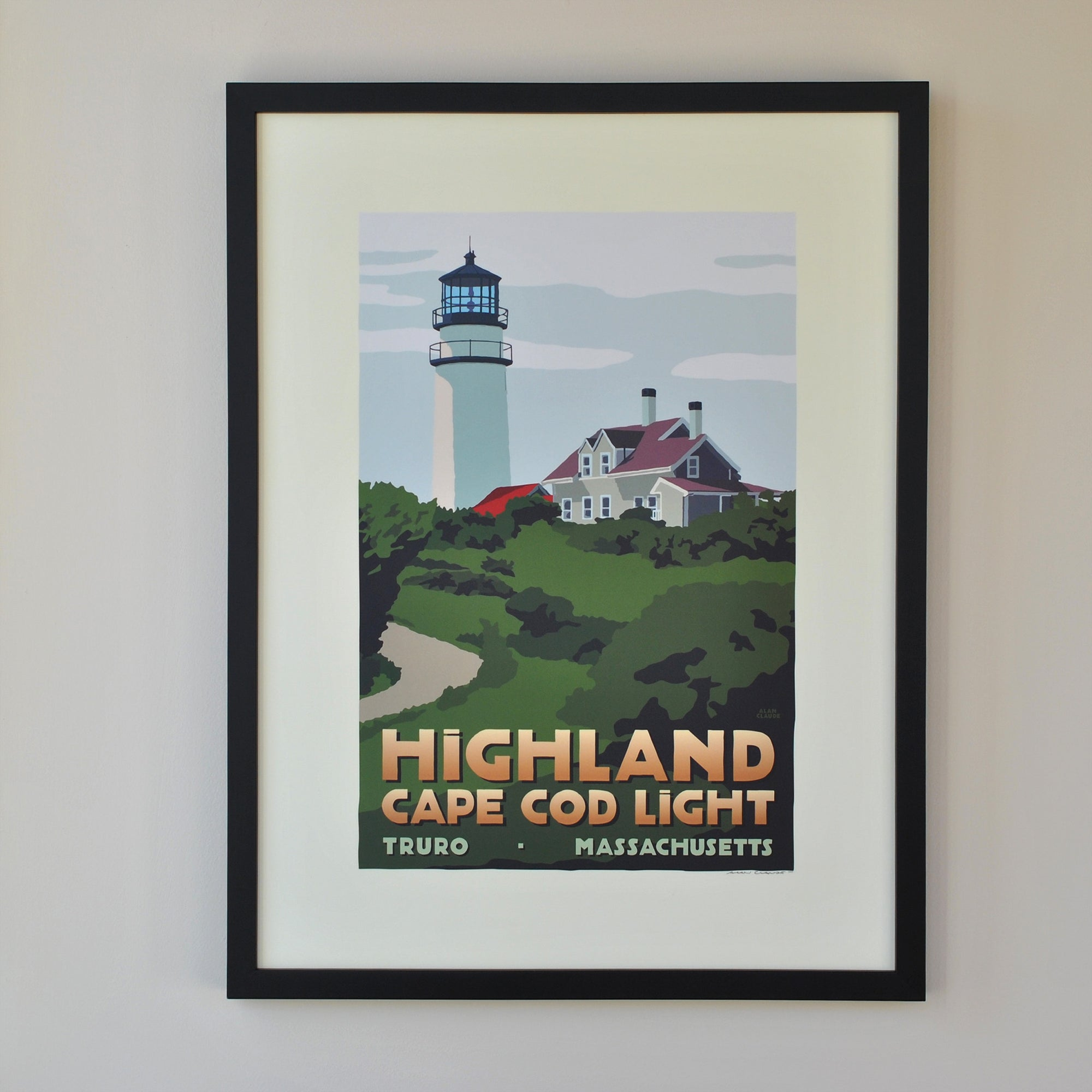 "Highland Light Art Print 18"" x 24"" Framed Travel Poster - Massachusetts"