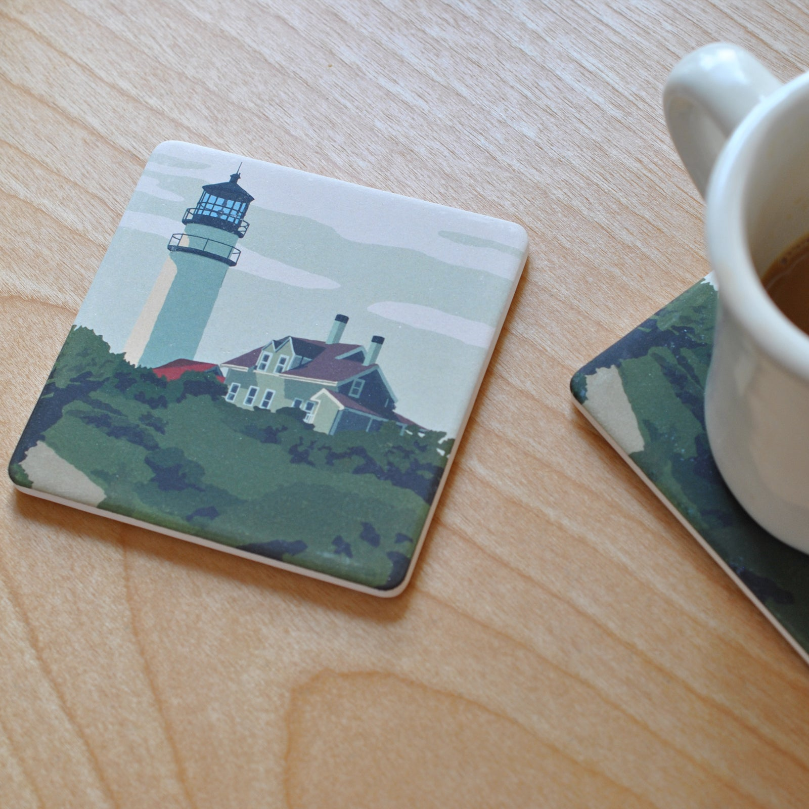 Highland Light Art Drink Coaster - Massachusetts -
