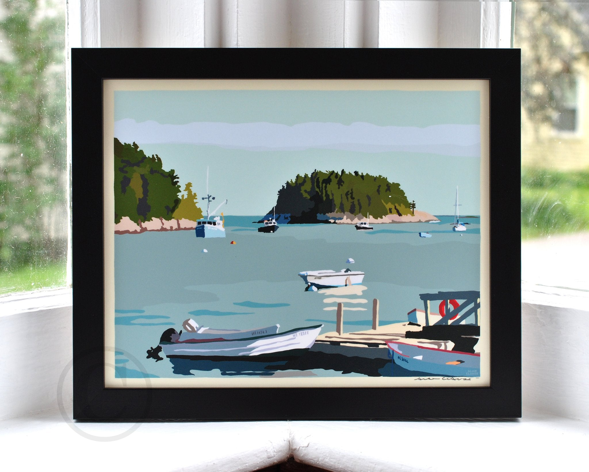 "I Am An Island - horizontal format - Art Print 8"" x 10"" Framed Wall Poster - Maine"