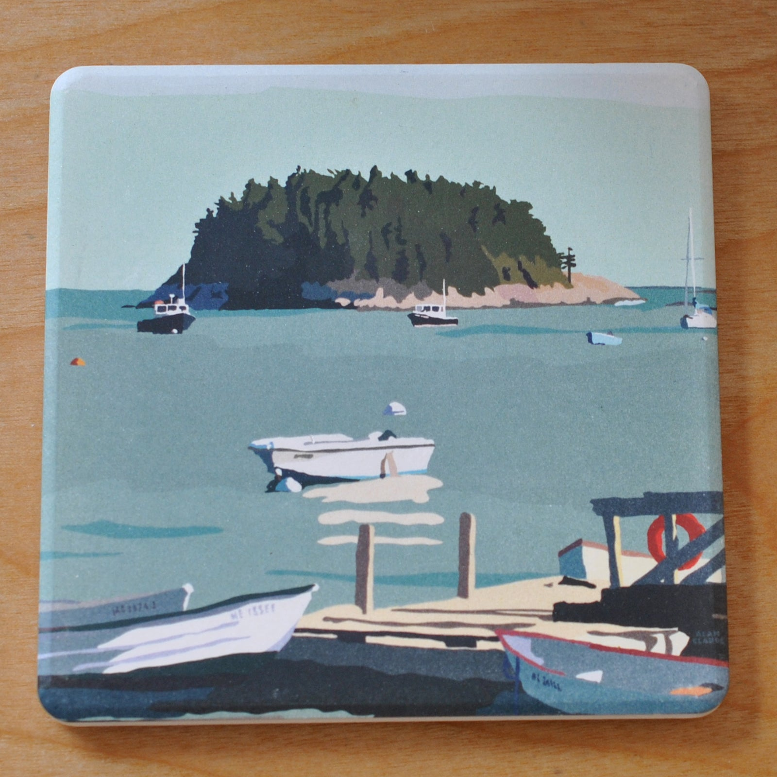 I Am An Island Art Drink Coaster - Maine