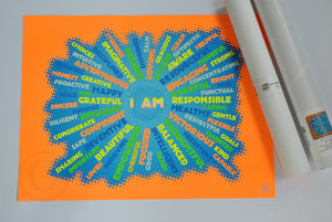 "I AM Youth Mindfulness Art Print - Neon Orange 18"" x 24"" Wall Poster"