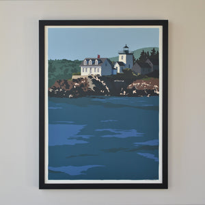 "Indian Island Light Print 18"" x 24"" Framed Wall Poster - Maine"