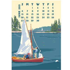 2021 DESK Art Calendar 5x7 Retro Vintage Art Style by Maine Artist Alan Claude