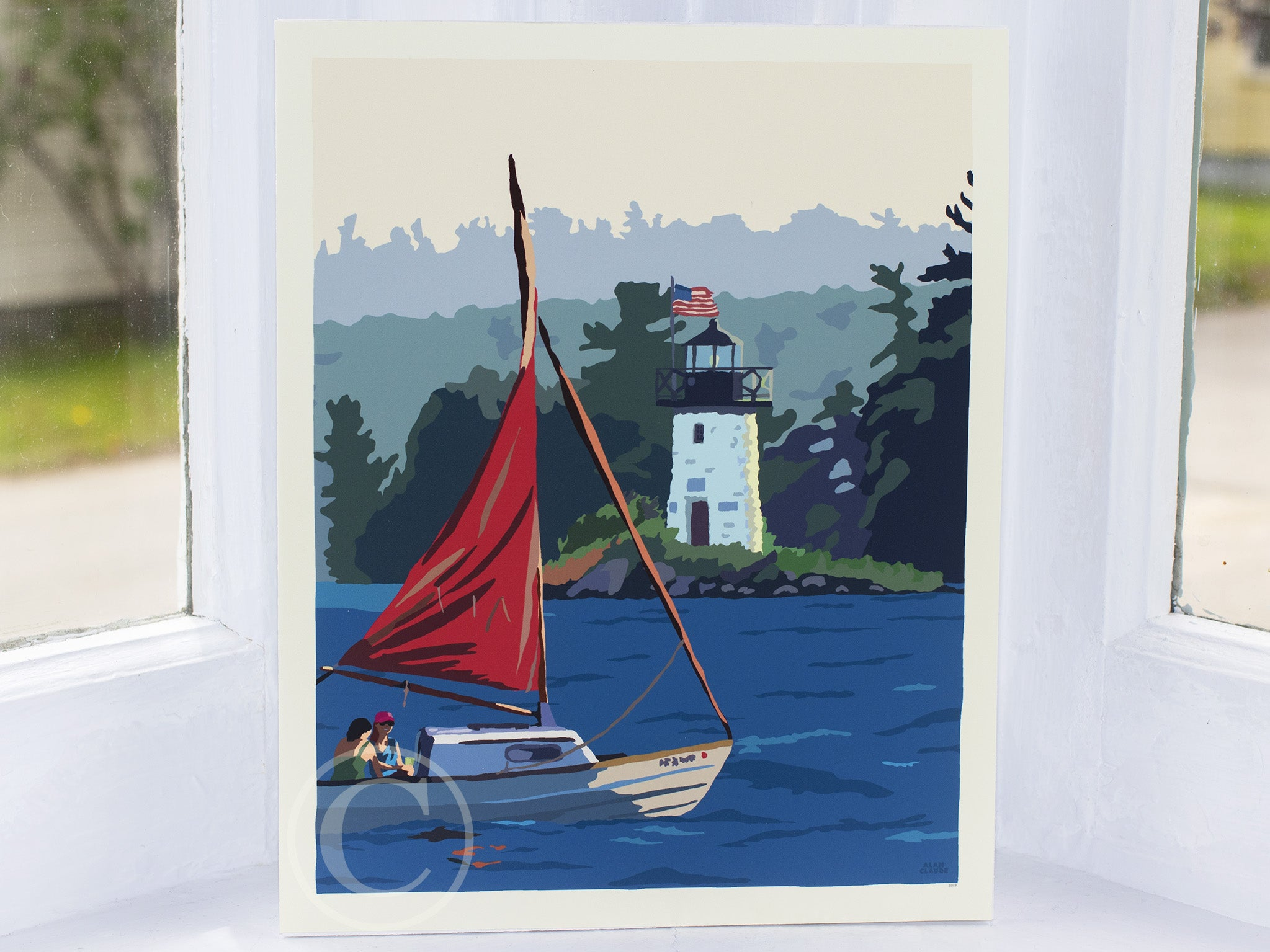 "Sailing Ladies Delight Lighthouse Art Print 8"" x 10"" Wall Poster"