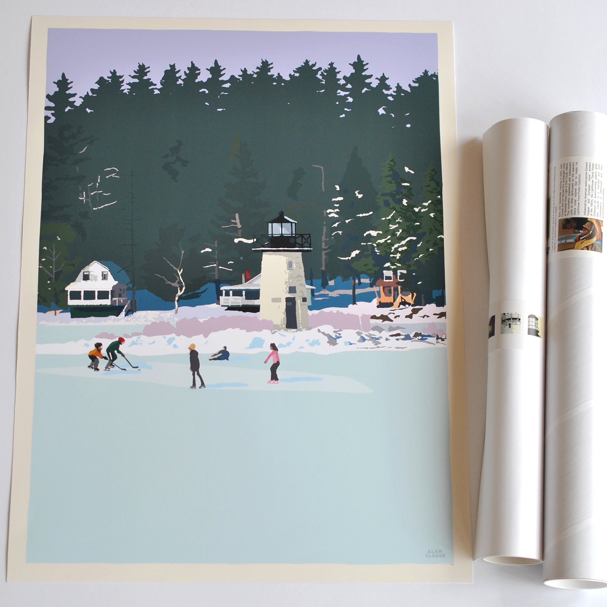 "Ice Skating At Ladies Delight Lighthouse Art Print 18"" x 24"" Wall Poster - Maine"