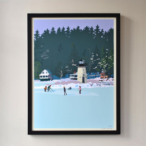 "Ice Skating At Ladies Delight Lighthouse Art Print 18"" x 24"" Framed Wall Poster - Maine"