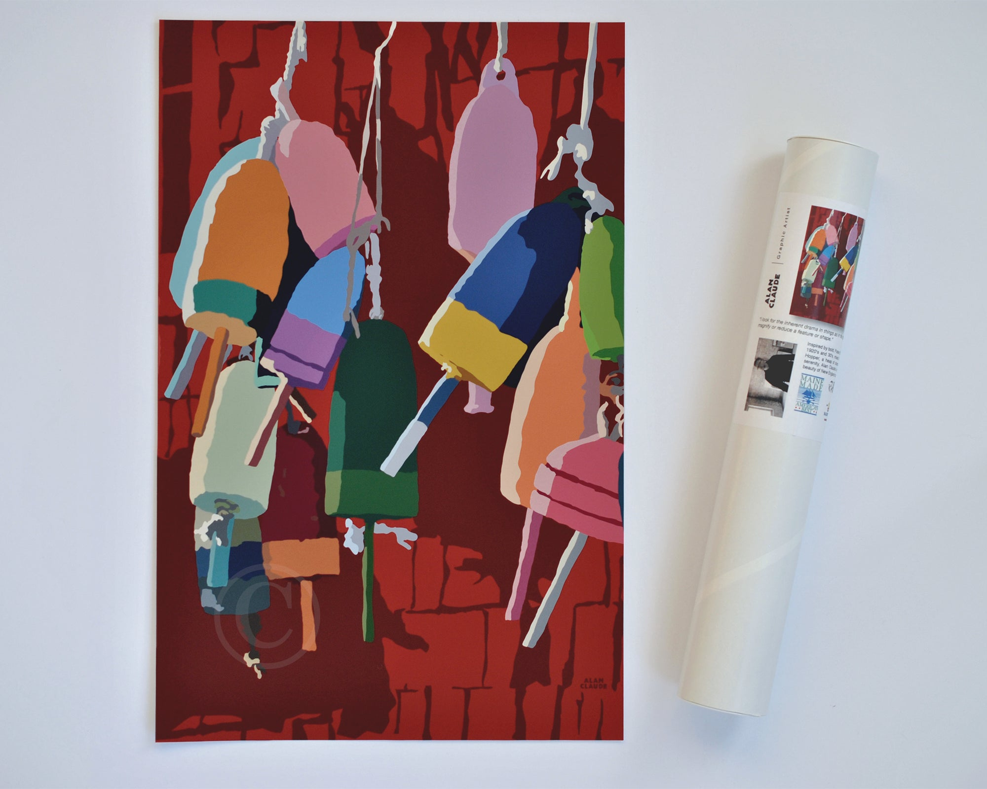 "Lobster Buoys Art Print 11"" x 17"" Wall Poster - Maine"