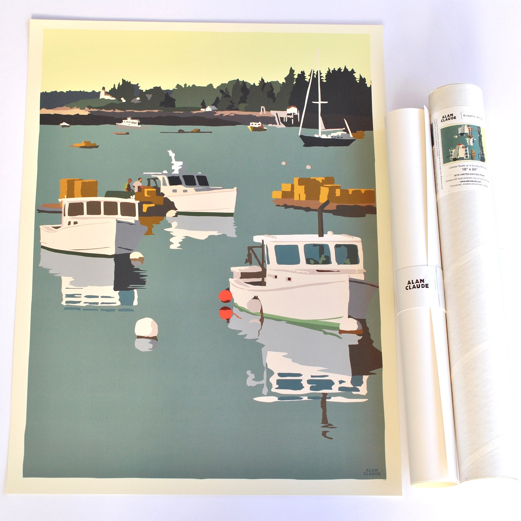 "Lobster Boats on a Sunday Morning Art Print 18"" x 24"" Wall Poster Boothbay Harbor - Maine"