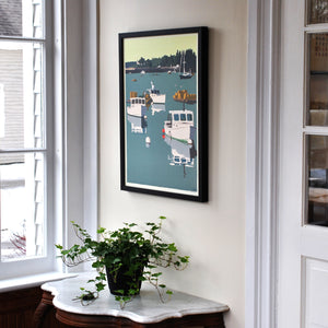 "Lobster Boats on a Sunday Morning Art Print 18"" x 24"" Framed Wall Poster - Maine"
