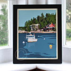 "Lobster Boat at Five Islands Art Print 8"" x 10"" Framed Wall Poster - Maine"