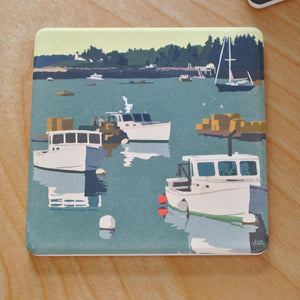 Lobster Boats On A Sunday Morning Art Drink Coaster - Maine