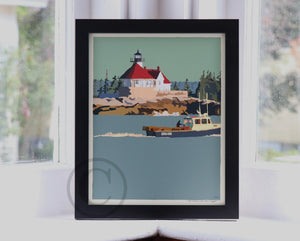 "Lobstering at the Cuckolds Light Art Print 8"" x 10"" Framed Wall Poster - Maine"