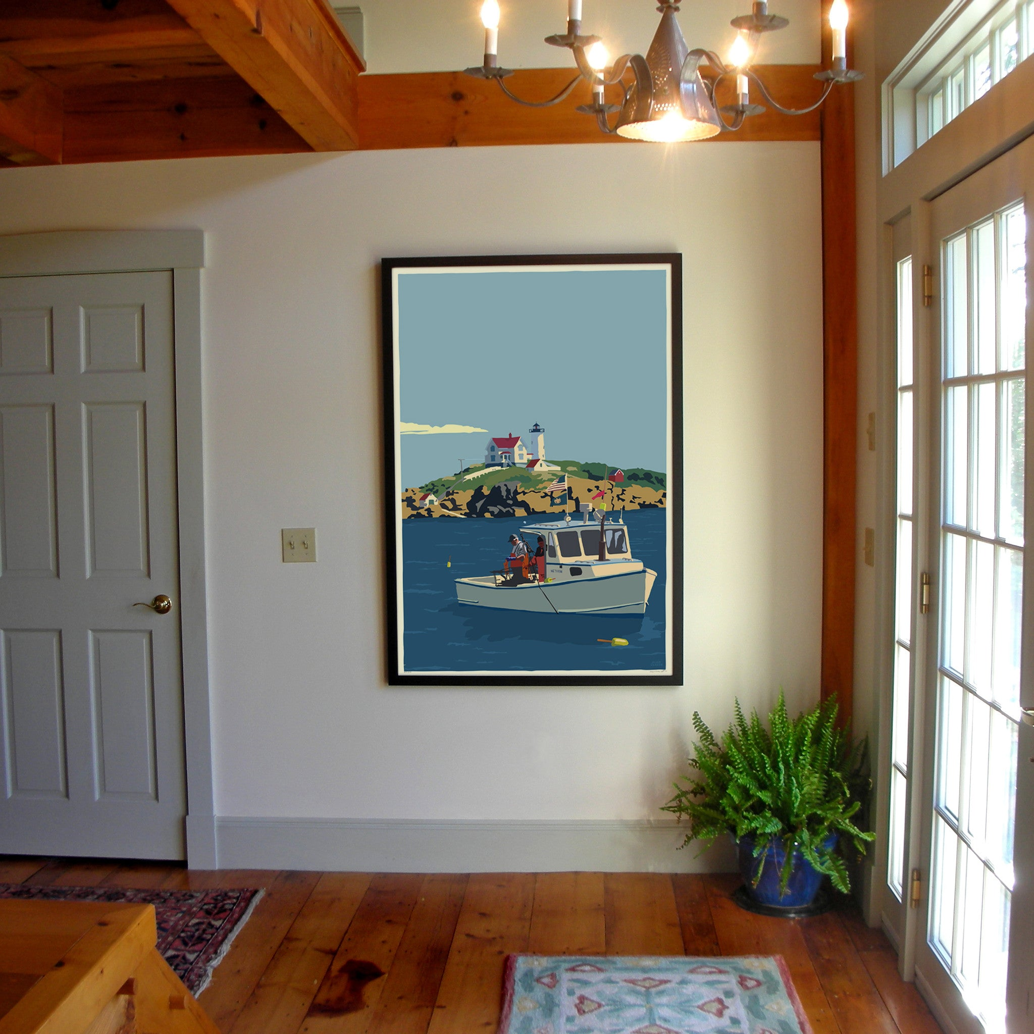 "Lobstering at the Nubble Art Print 36"" x 53"" Framed Wall Poster - Maine"
