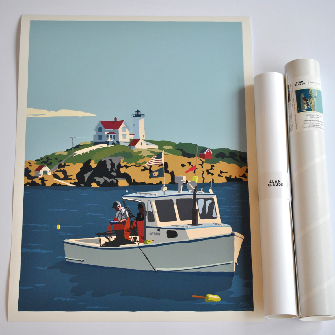 "Lobstering at the Nubble Art Print 18"" x 24"" Wall Poster - Maine"